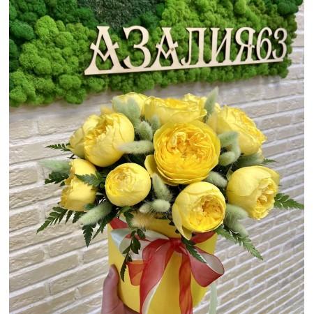 Композиция в Шляпной коробке с Пионовидной розой