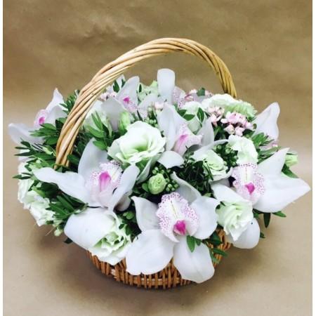 Корзина с белыми орхидеями